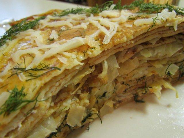 Блинный пирог с капустой рецепты