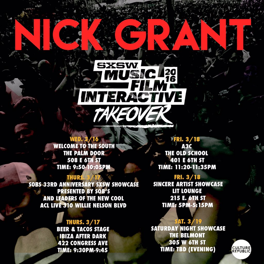 If you're in Austin this week for #SXSW come check @NickGrantmusic perform to see what all hyped about! #Nickgrant https://t.co/kCBXgKqFnE