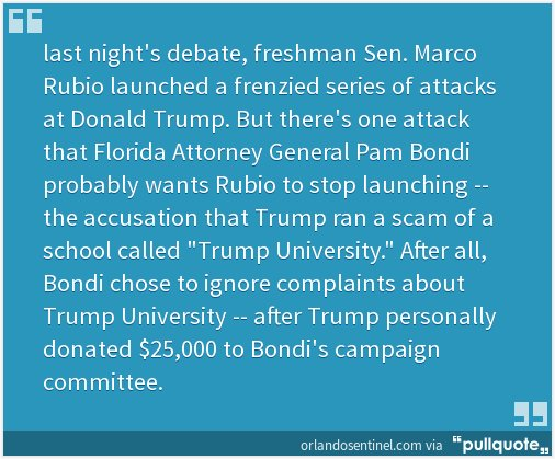 Florida AG drops investigation of Trump University after Trump donates $25K to her campaign. https://t.co/igiHt9yrcG https://t.co/bnNeLyywhz
