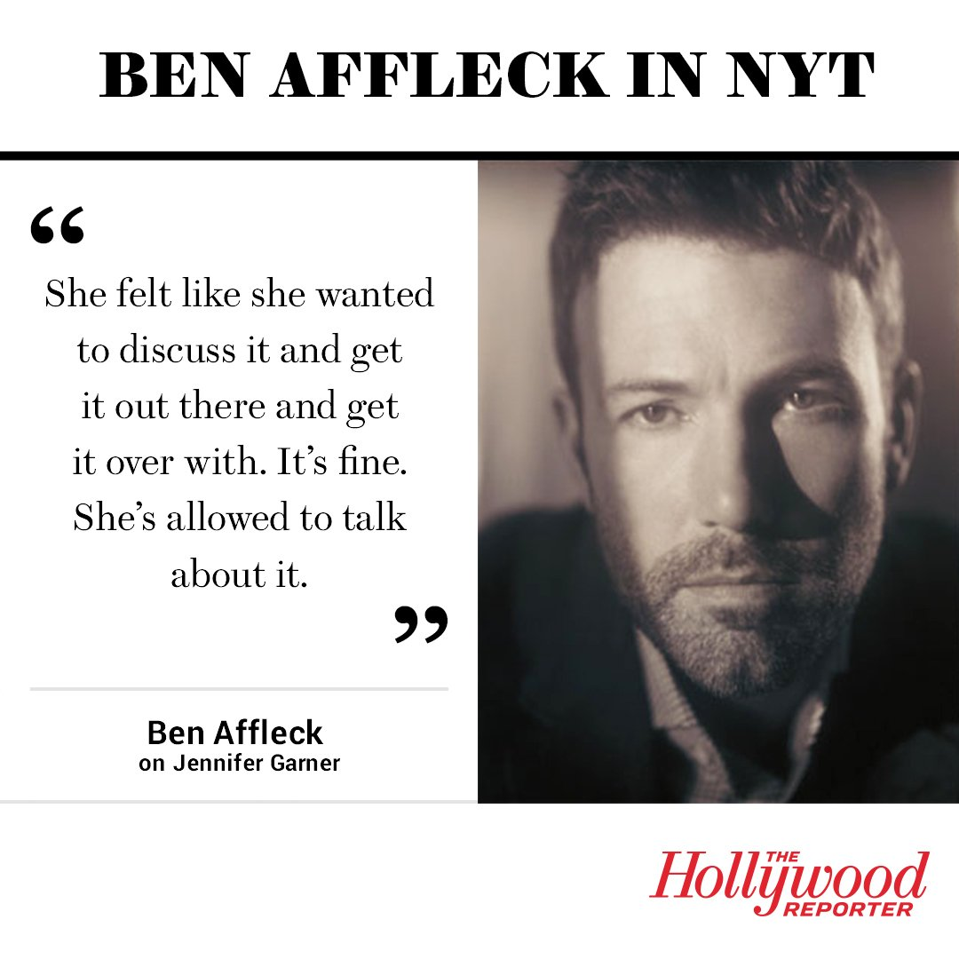 Ben Affleck responds to Jennifer Garner's Vanity Fair interview in the NYT