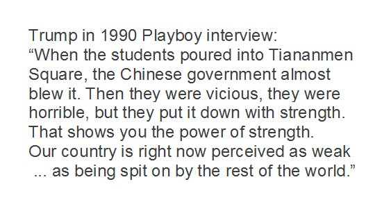 In 1990 Playboy interview, Trump talked about the Tiananmen Square massacre: