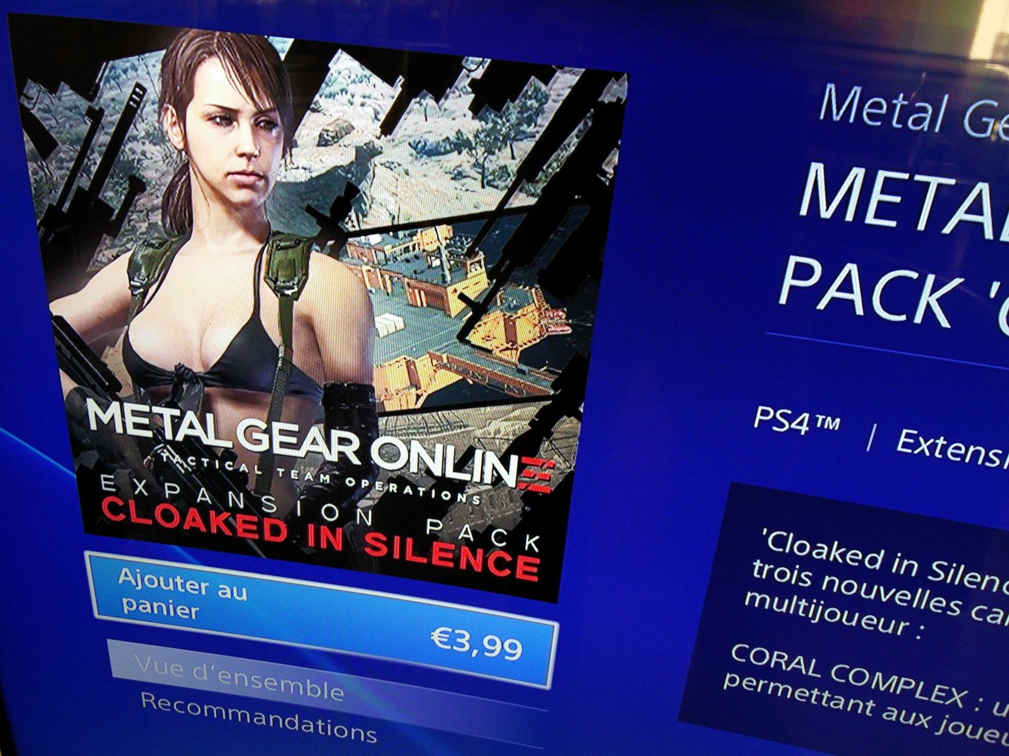 Le nouveau contenu #MetalGearOnline est dispo sur le #PlayStationStore avec:   • 3 nouvelles cartes • Quiet jouable https://t.co/rFWe0aQcLW