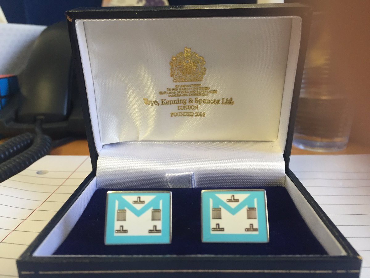 A friend and Brother at work has gifted me these cufflinks for my Install on Saturday. #freemasonry https://t.co/0645dJ92Q5