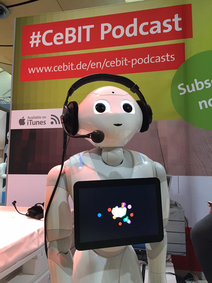 Curious about humanoid robots? Listen to the #Podcast on #SocialRobots with #Pepper https://t.co/Tcmulus3XZ #CeBIT https://t.co/TR5zzyVFij