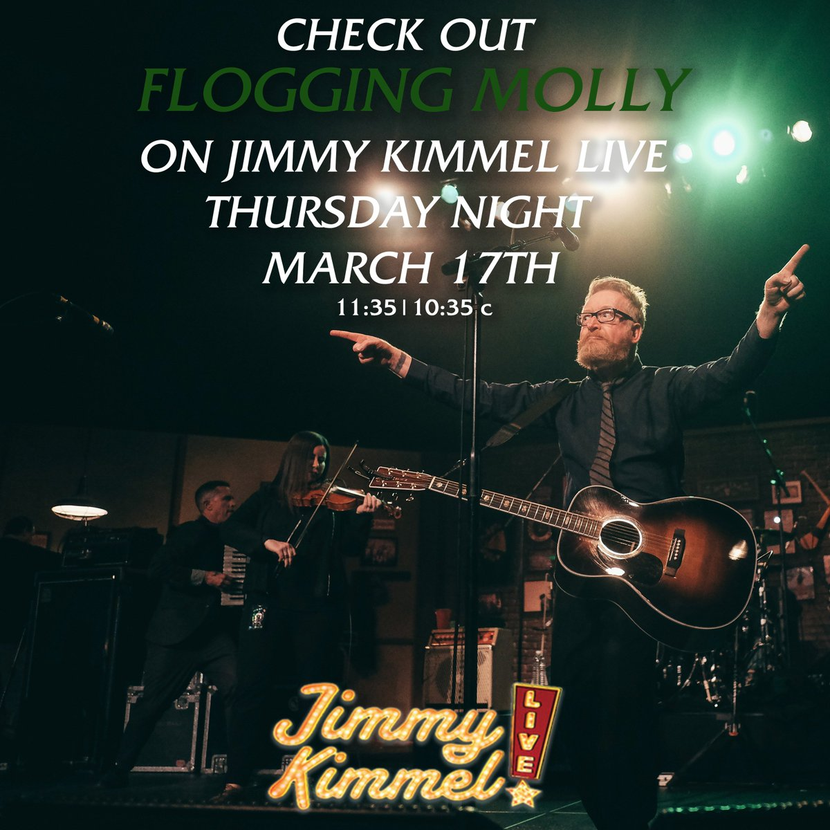 .@JimmyKimmelLive....you ready for us on #StPatricksDay? See us perform our new song 'The Hand Of John L Sullivan' https://t.co/RDTrKkrgPr