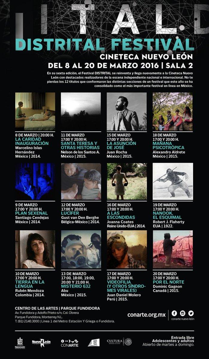 Festival @Distrital en @CinetecaNL del 8 al 20 de Marzo, Sala 2. Entrada libre. Programación https://t.co/ELYUaakTnk https://t.co/7Eg9mECXvk