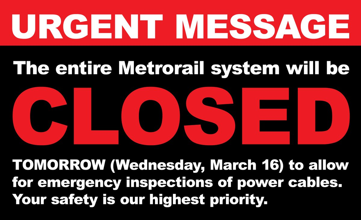 All Metrorail service will be suspended Wed., March 16, for emergency inspections: https://t.co/OPr8Ia6Vgt #wmata https://t.co/YEXPL1cm2s