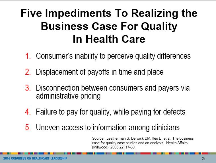 What are the five biggest roadblocks in the business of quality care?From Ann Blouin's #ACHE2016 session https://t.co/3FLJEy8OE0