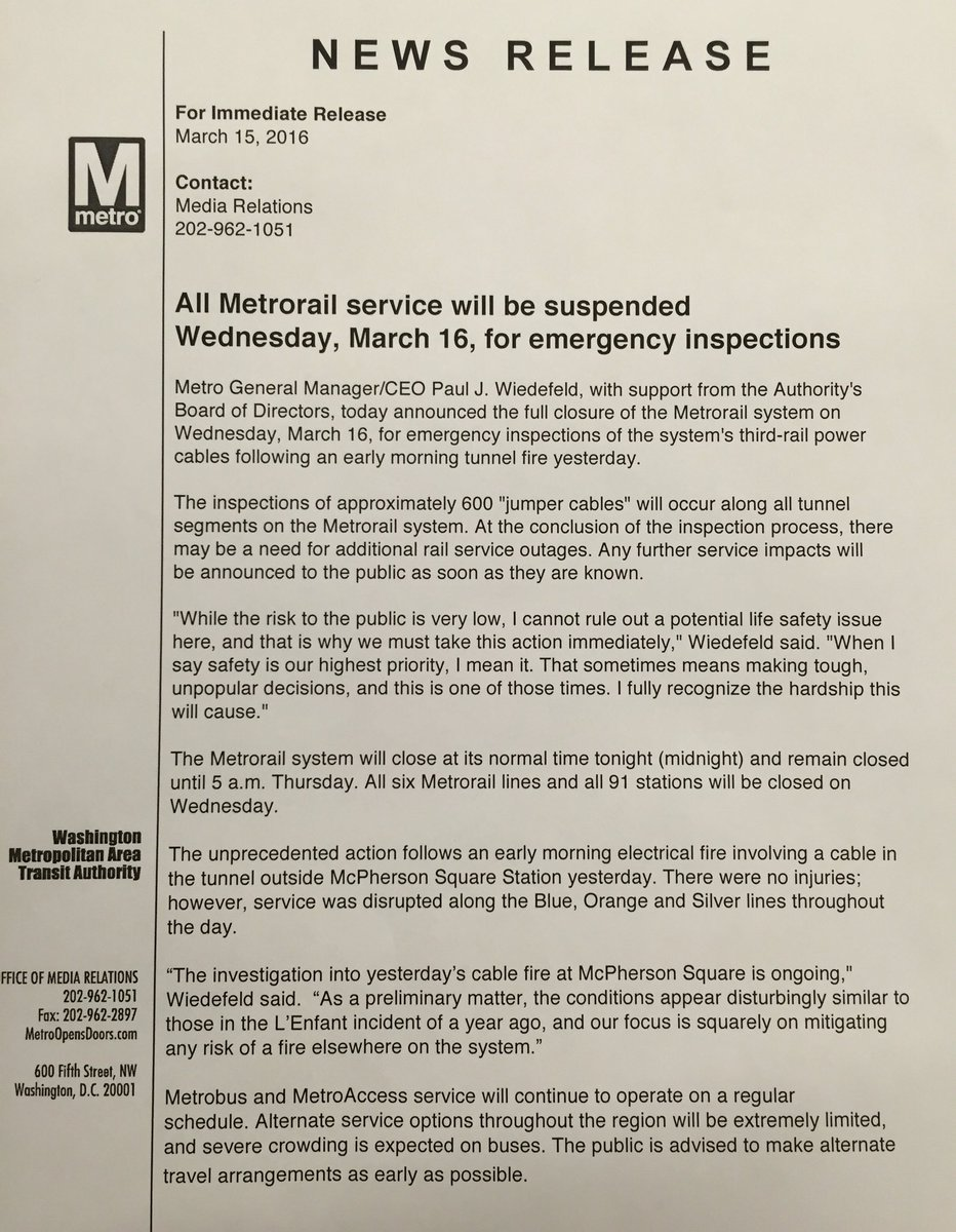 Tomorrow, the entire Metrorail system will be CLOSED for a critical safety inspection. Full #WMATA press release: https://t.co/mUHIgCLzJP