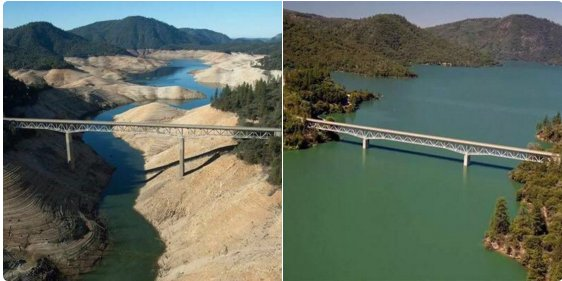 EL NINO TO THE RESCUE: Shasta Lake 2015 vs. 2016. Great photo from @joe_nam7 https://t.co/gGc4NmNgVc