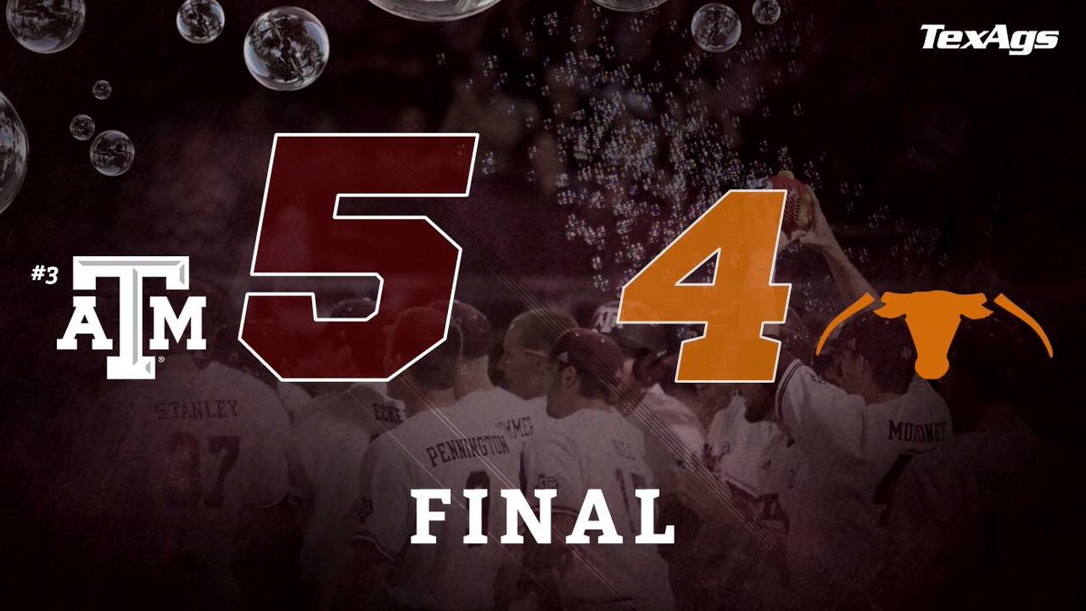 Our baseball boys BTHO t.u. 5-4!  Can we get a whoop?!  #gigem #SEC https://t.co/a8DhrPxiul