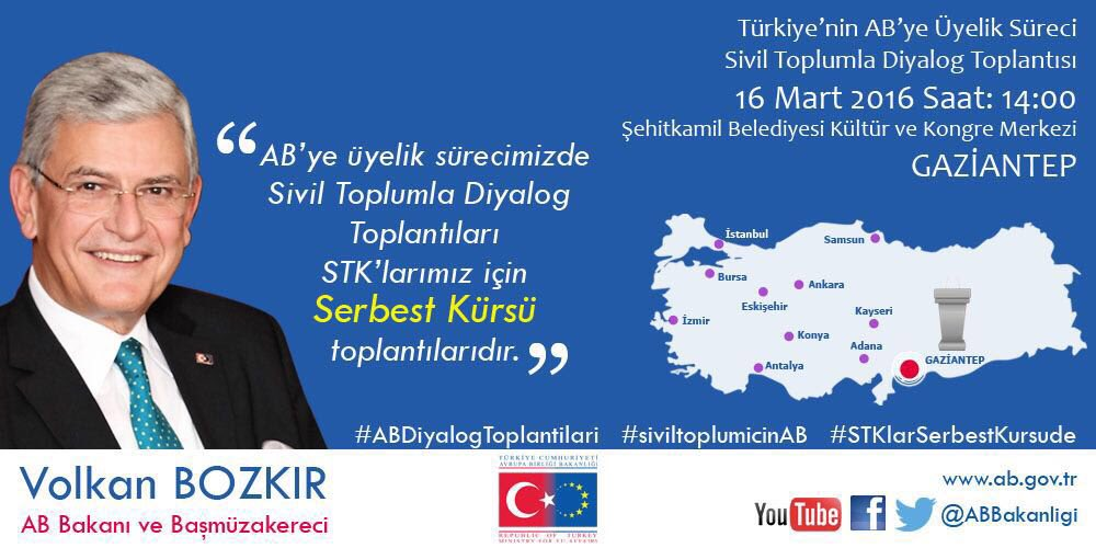 AB Bakanlığımızın Sivil Toplumla Diyalog toplantısı için bugün Gaziantep'teyim. https://t.co/JVprYDnwp3