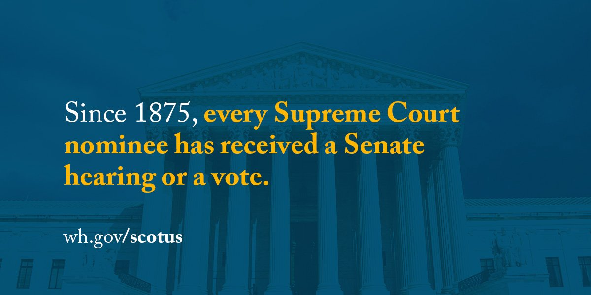Since 1875, every Supreme Court nominee has received a Senate hearing or a vote. #SCOTUS https://t.co/4tol44qxvq