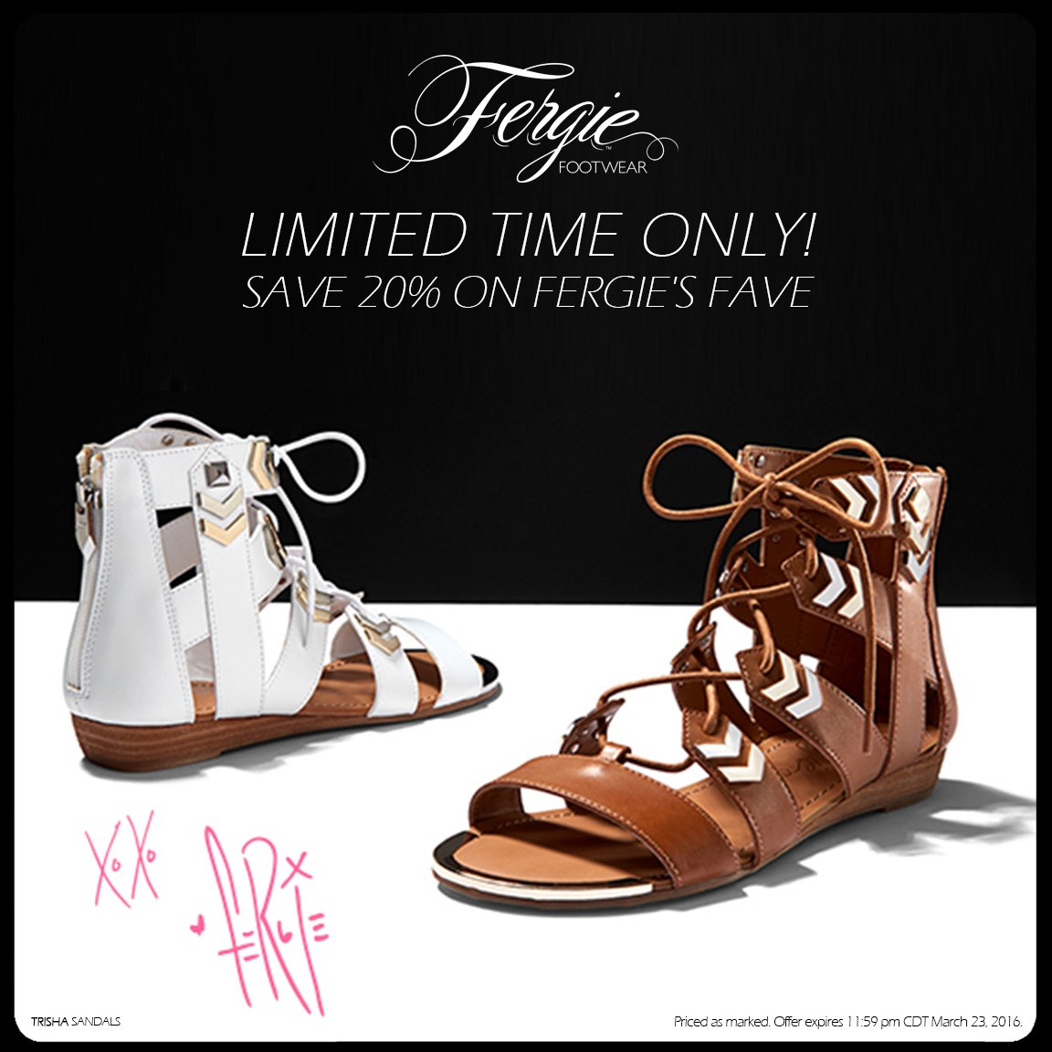 RT @FergieFootwear: SAVE 20% on #FergieFave TRISHA #sandals NOW thru 3/23!???? #shoesale #newsandals #laceupsandals https://t.co/BYT56SkKLm ht…