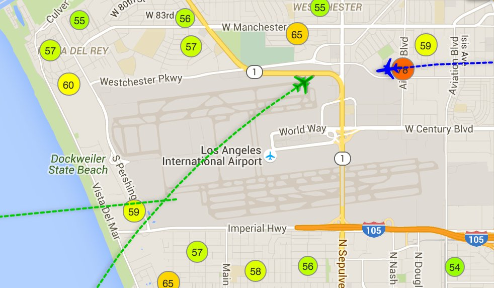 RT @kystokes: Real-time map of jet noise at @flyLAXairport. Coooooool.
