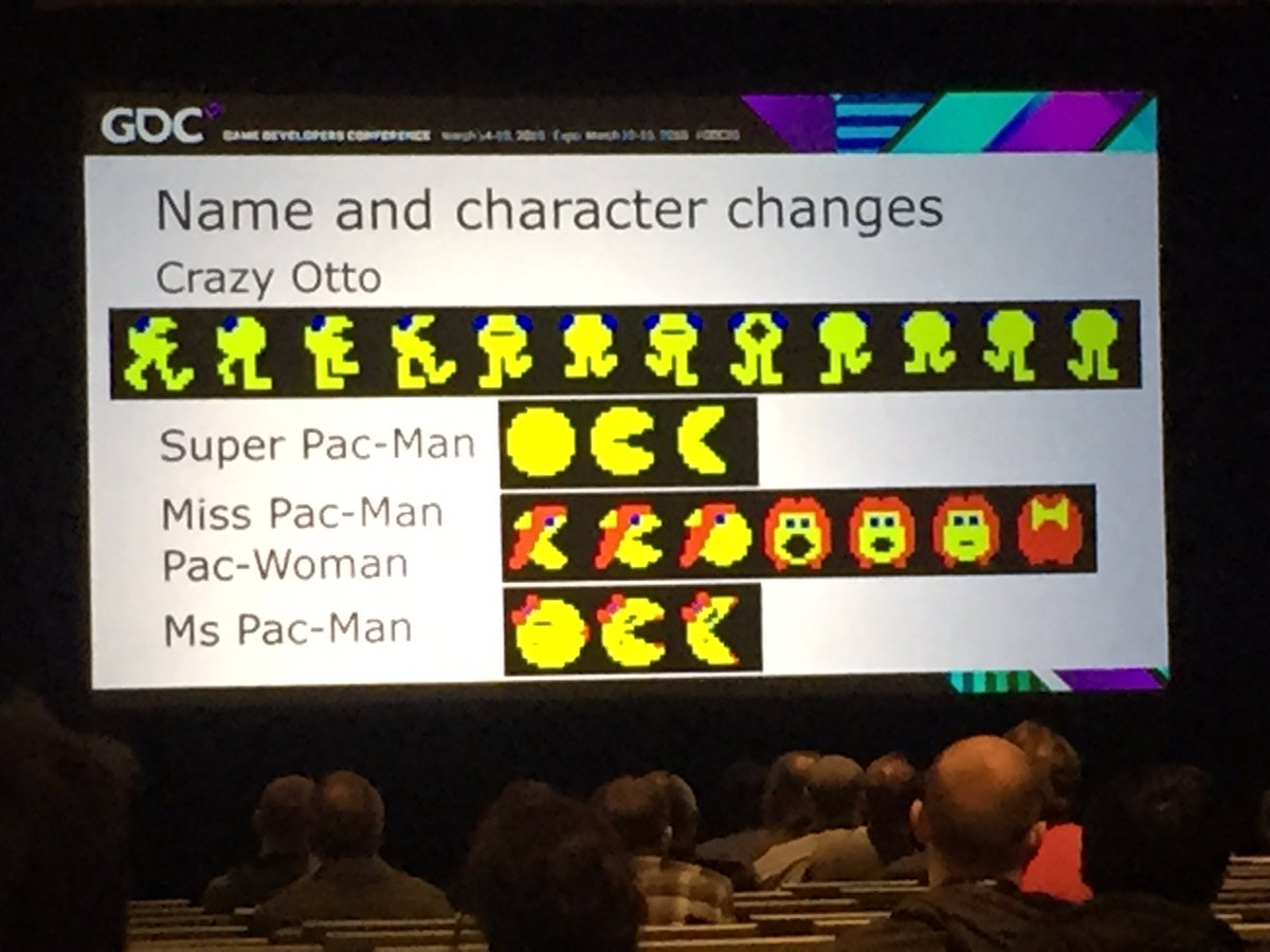 Moments like this happen only at #GDC. Here are the original pixel designs for Pac-Woman, precursor of Ms. Pac-Man. https://t.co/DzcMRzOOh4