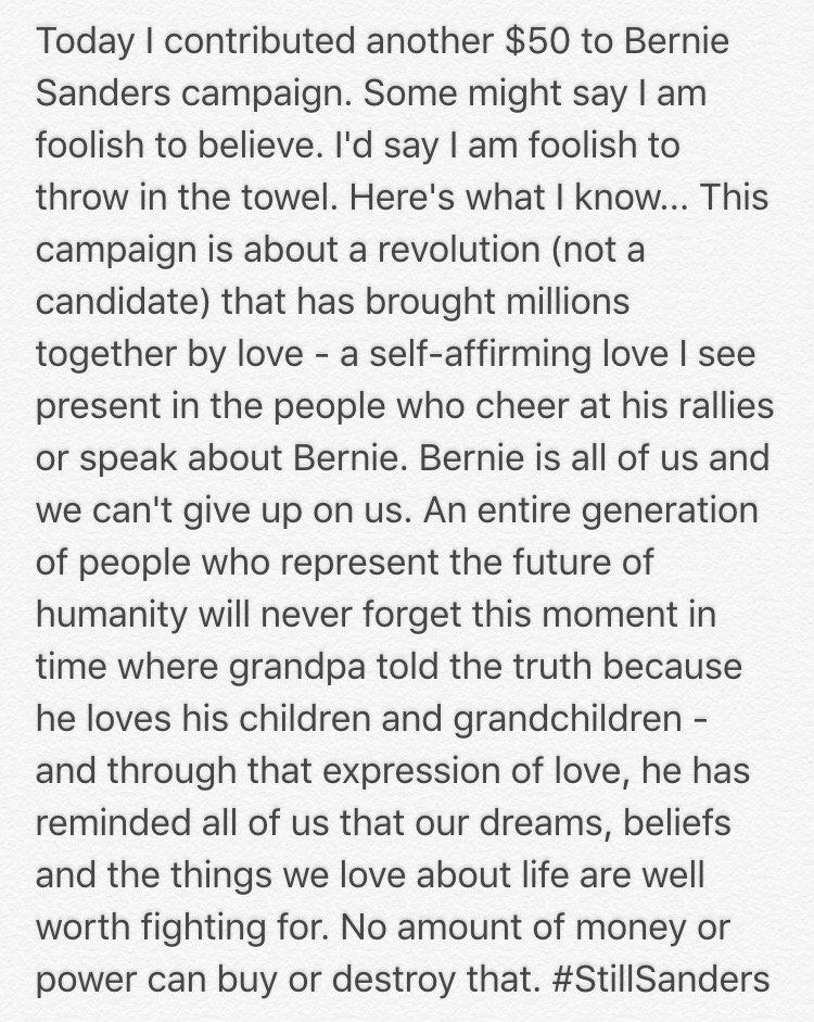 Love wins. I'm with him until the end. #StillBernie #StillSanders #BernieSanders https://t.co/OBO1iQnm6h