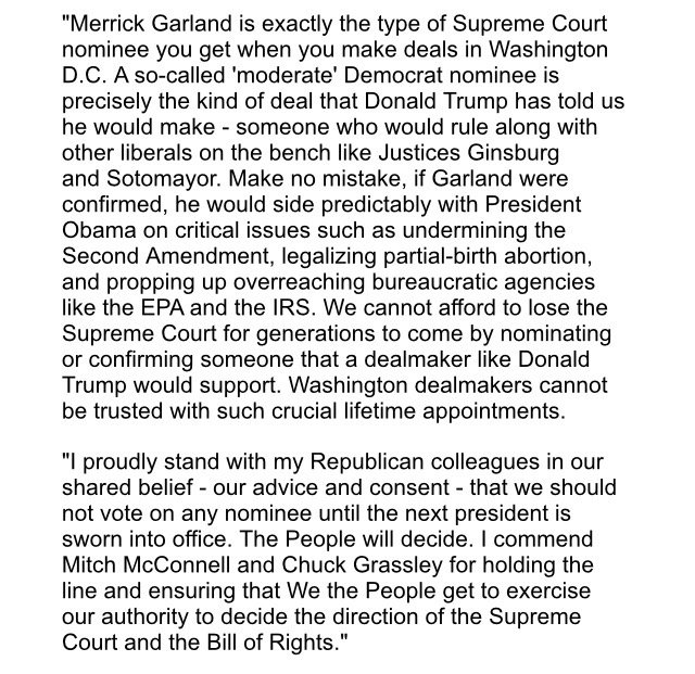 Statement from @tedcruz on Supreme Court nomination @NBCDFW #decision2016 https://t.co/3NYWteJYPw