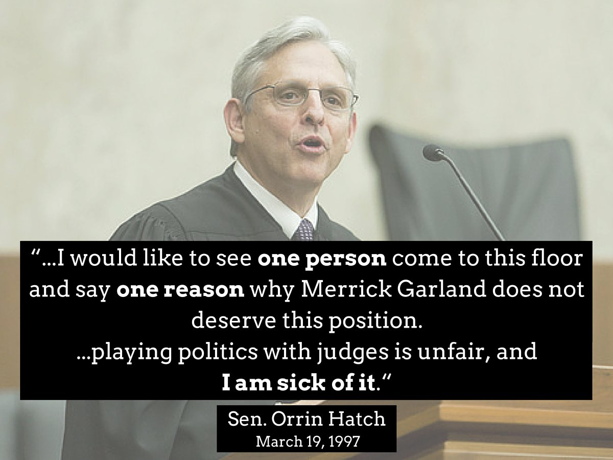 Senator Orrin Hatch said this in 1997 about @SCOTUSnom Merrick Garland... https://t.co/UyWpHO22fy