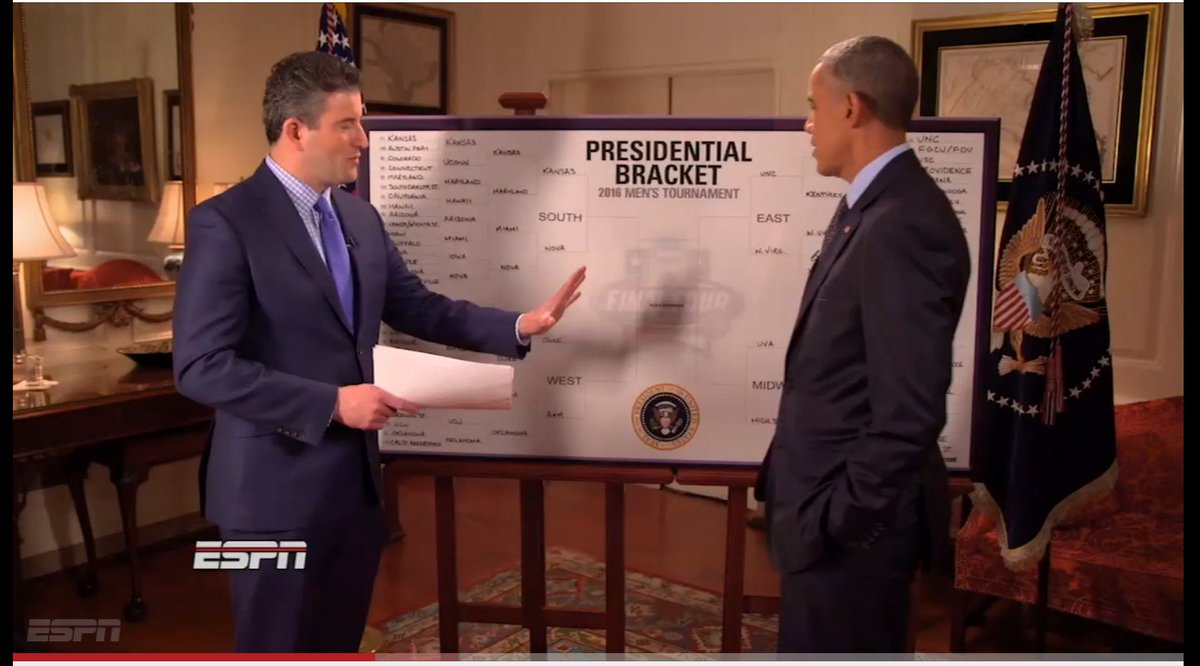 Obama picks Kansas in final NCAA tournament bracket as president: (Screen shot: YouTube)