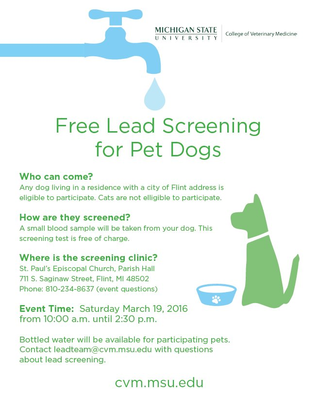 Live in Flint? Have a pet dog? Free lead screening is available on Saturday, March 19. https://t.co/72UshGqYzY