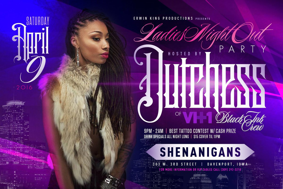 Iowa! I will see you at Shenanigans on April 9th. Come turn up with me! #VH1 #BlackIncCrew #PrettyNInk