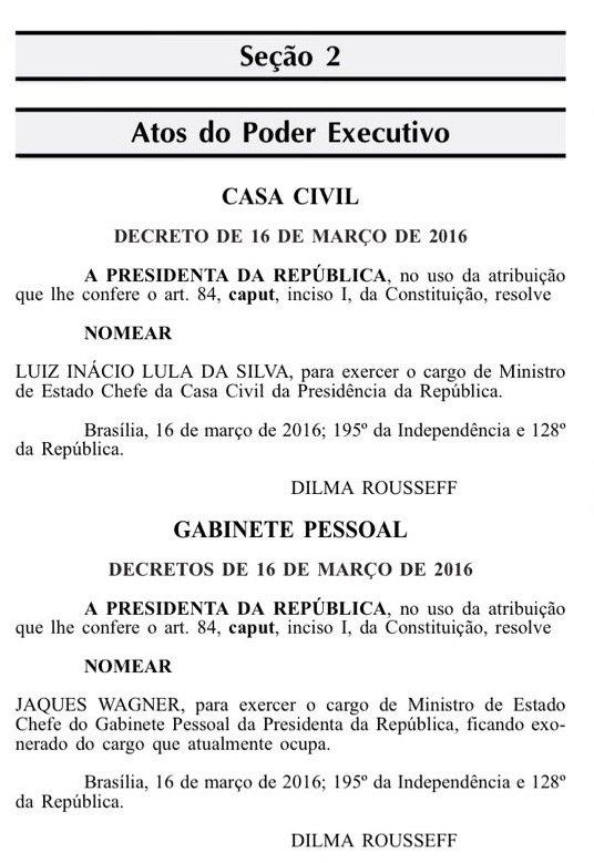 Diário Oficial em edição extra: Lula, Ministro de Estado. https://t.co/lq1mk6chpZ