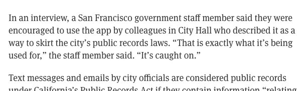 Whoa. Gov't workers use @telegram to keep conversations out of public record. https://t.co/xAnvbr3CUh @coryweinberg https://t.co/9qJAIR886N