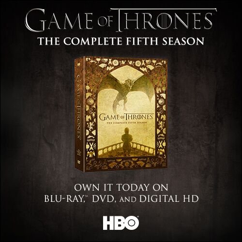 Game of Thrones Season 5 is now available on Blu-ray, DVD & Digital HD. Locals, retweet for a chance to win a set! https://t.co/QgxKzblCOA