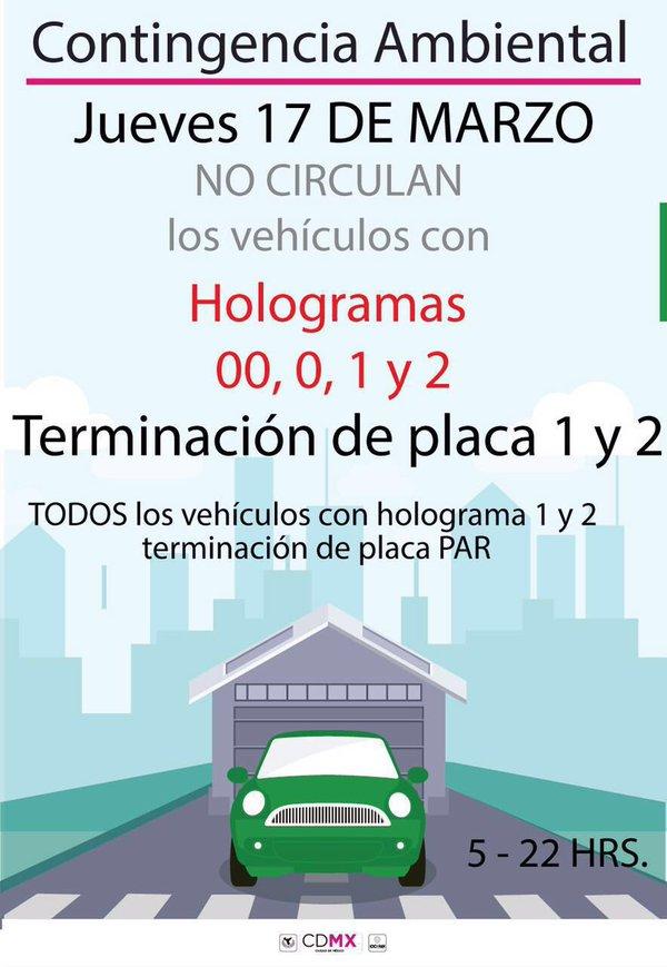 Por #ContingenciaAmbiental mañana no circulan autos con engomado verde terminación 1 y 2 y hologramas 0, 00, 1 y 2 https://t.co/5aAFOo43Nh