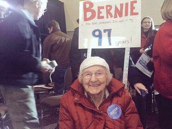 She's still with him. 97 and #StillBernie. What's your excuse? #StillSanders #BernieSanders #NotMeUs https://t.co/OsmAlylzcX