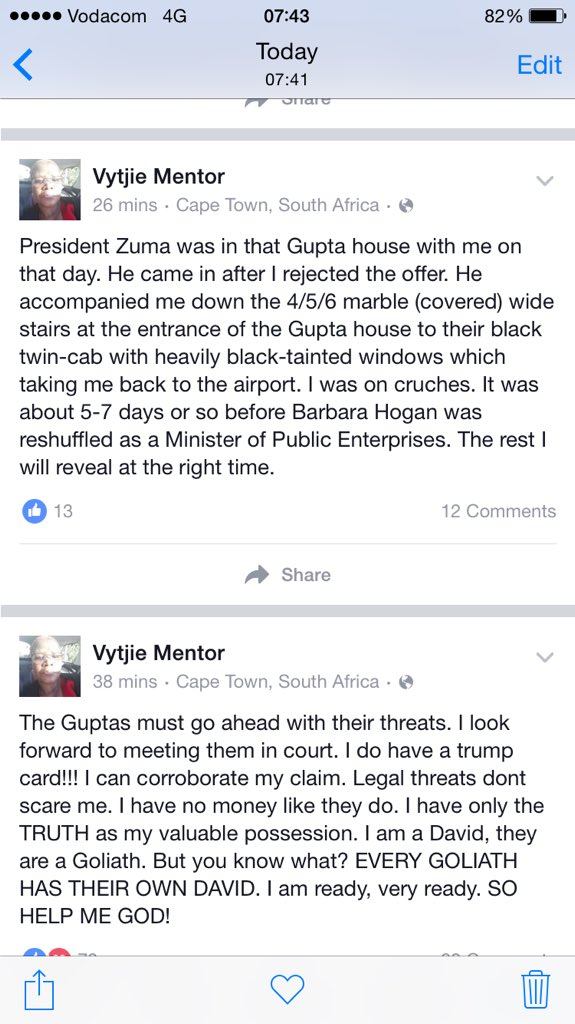 Just in - #VytjieMentor gives more details about the ministerial offer made to her by the #Guptas https://t.co/ADftPoEKsZ