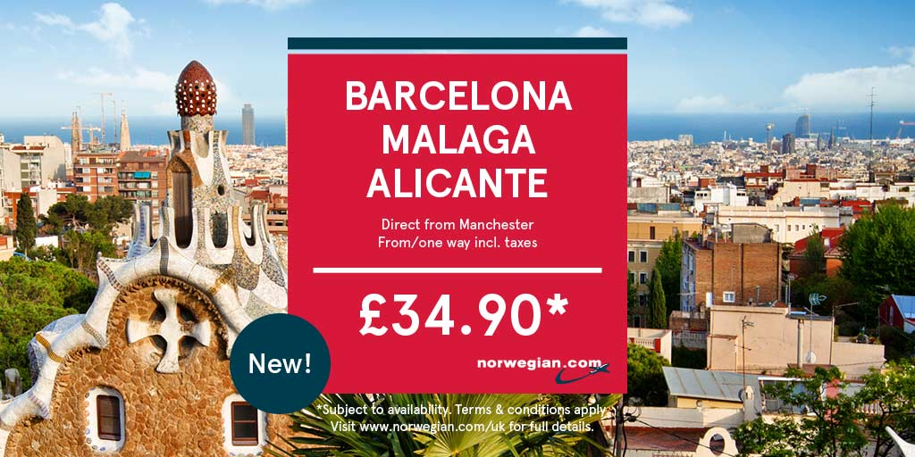 Thrilled to announce 3 NEW Spanish routes with @norwegianUK.. Barcelona Malaga &