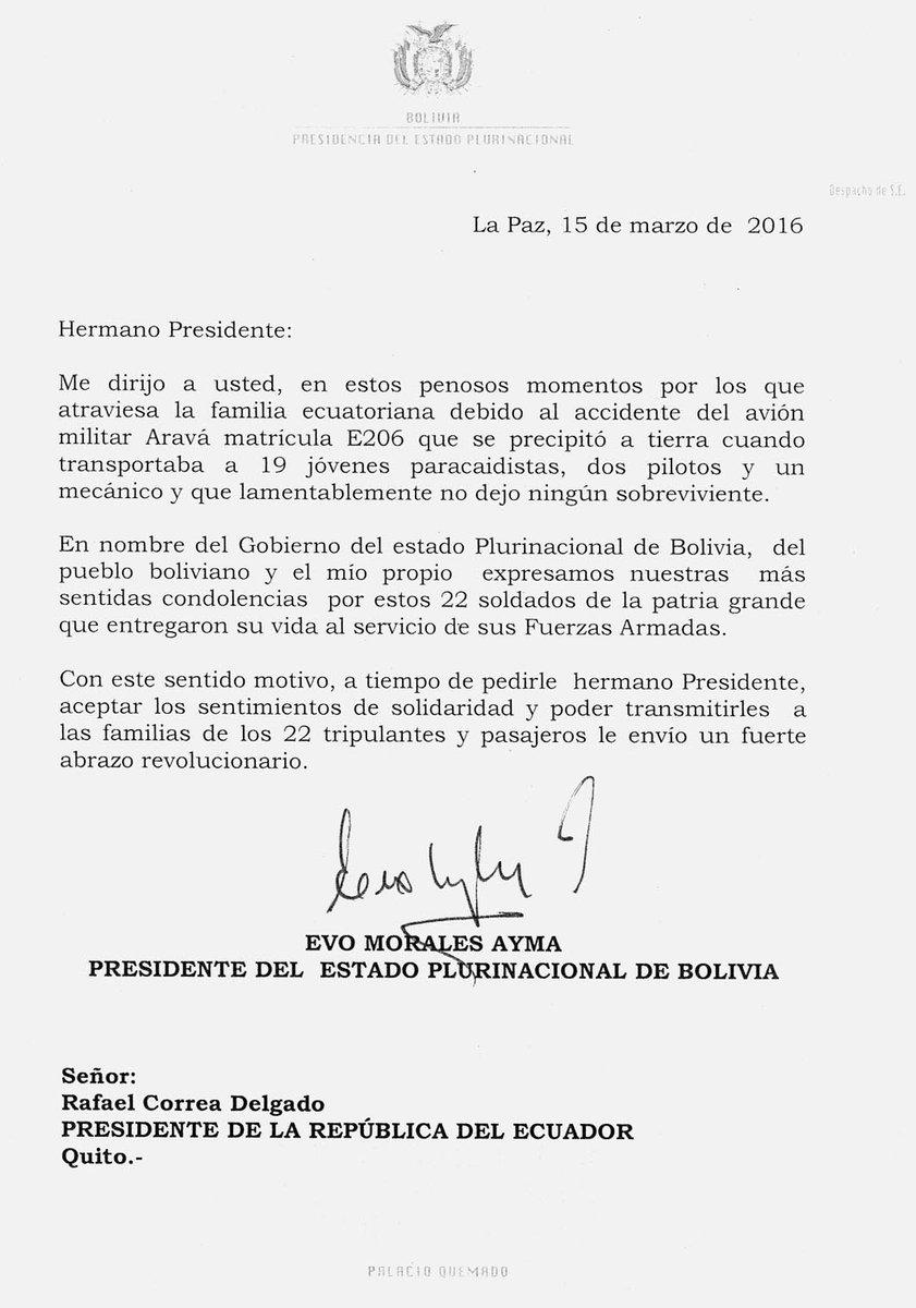Último carta de condolencias del presidente evo morales a correa por ...