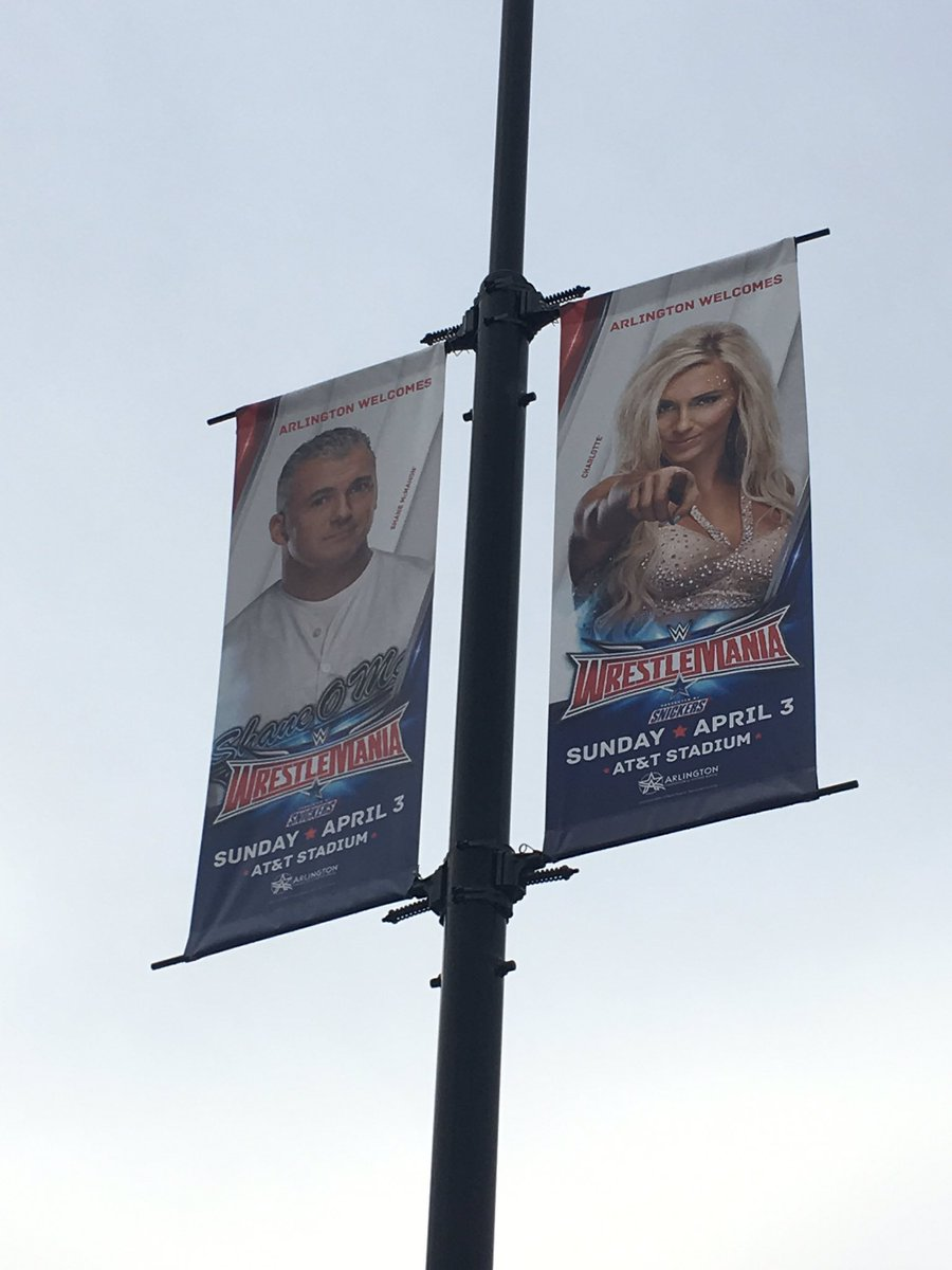 Promotional work for #WrestleMania32 starting to show up throughout the area of Arlington and surrounding cities https://t.co/89S7a8xuFv