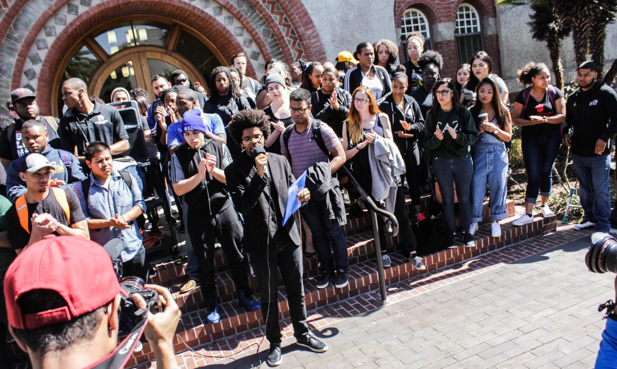 "@sjsubsu organized ""Black Thursday Rally"" this morning in response to the handling of the hate crime sentencing#SJSU https://t.co/QqmvPlt27P"