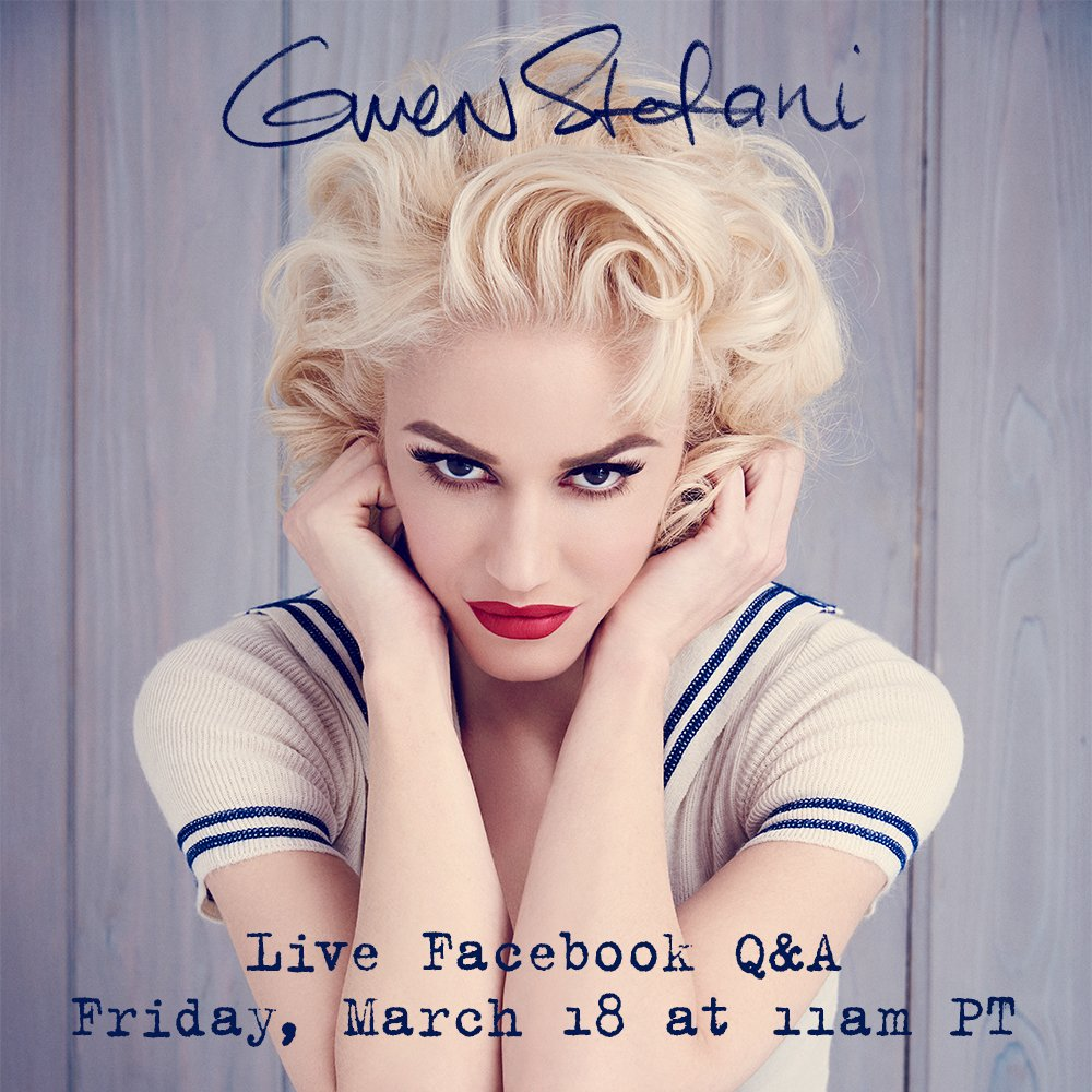 RT @gwenstefani: My album drops tmrw & I'm super excited for u to hear it! Lets do a live Q&A on FB & talk about the songs together ???? https…