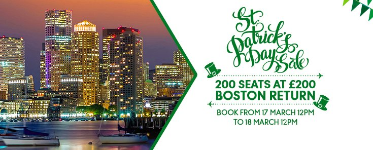 Book return flights to Boston today for £200 with