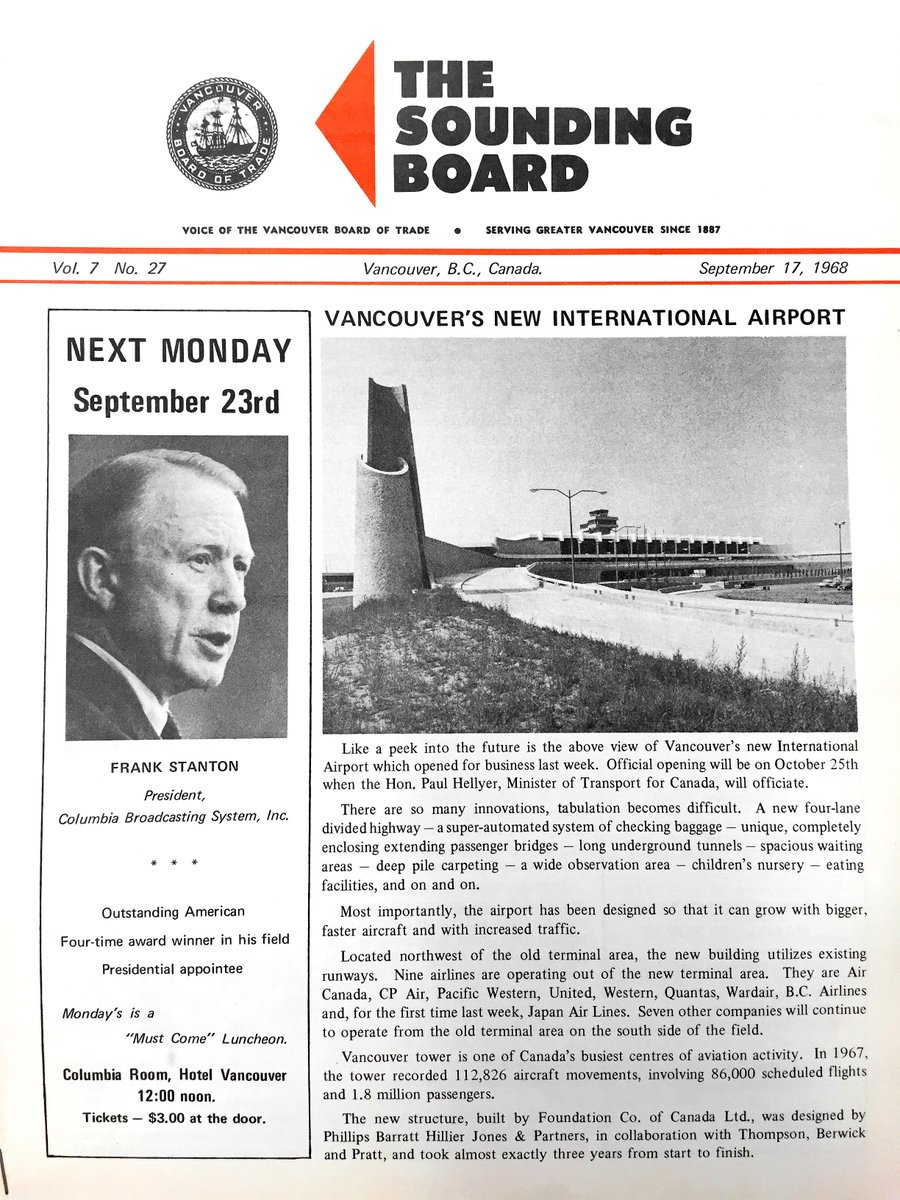 RT @BoardofTrade: For TBT, here's a 1968 issue of our Sounding Board publication featuring @yvrairport! yvr https…