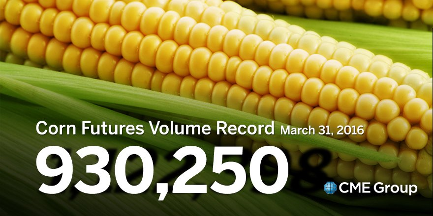 All-time record volume for #Corn Futures Thursday with 930,250 contracts traded. Previous record 845,770 on 6/30/15 https://t.co/1RpFHNMXwC