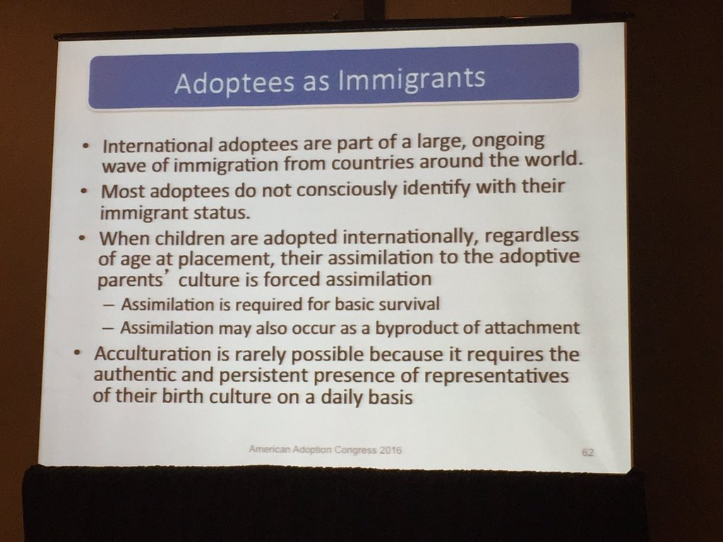 Forced assimilation is necessary for #adoptees survival. - Dr Amanda Baden #AAC16 https://t.co/xrFK84rRqq