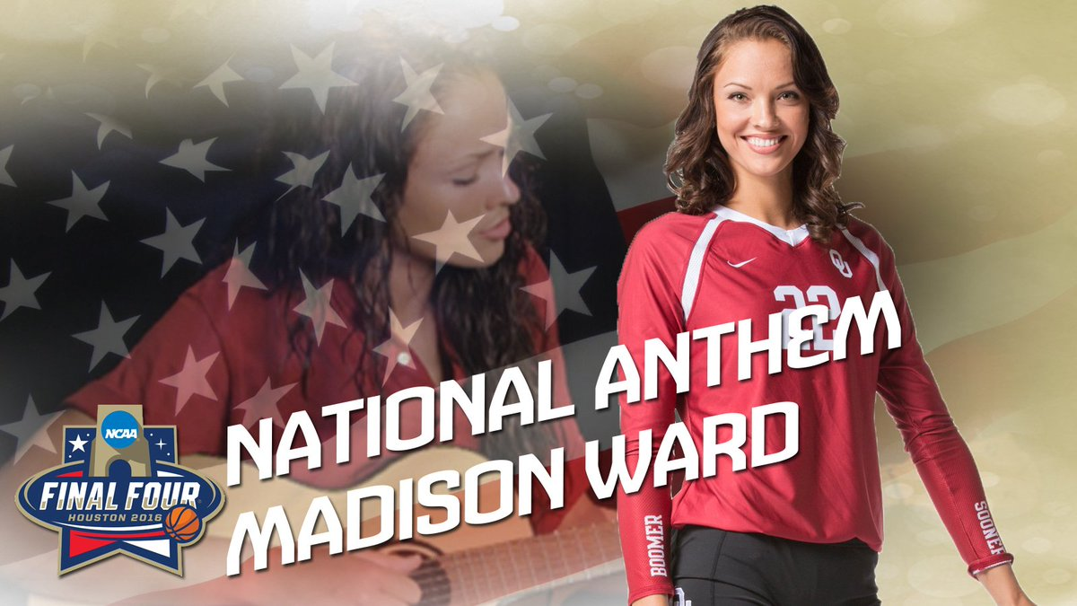 Get locked in to @OU_MBBall and the #FinalFour w/ @madisonward22 as part of tonight's Star Spangled Banner! https://t.co/Ggslf4uoOs