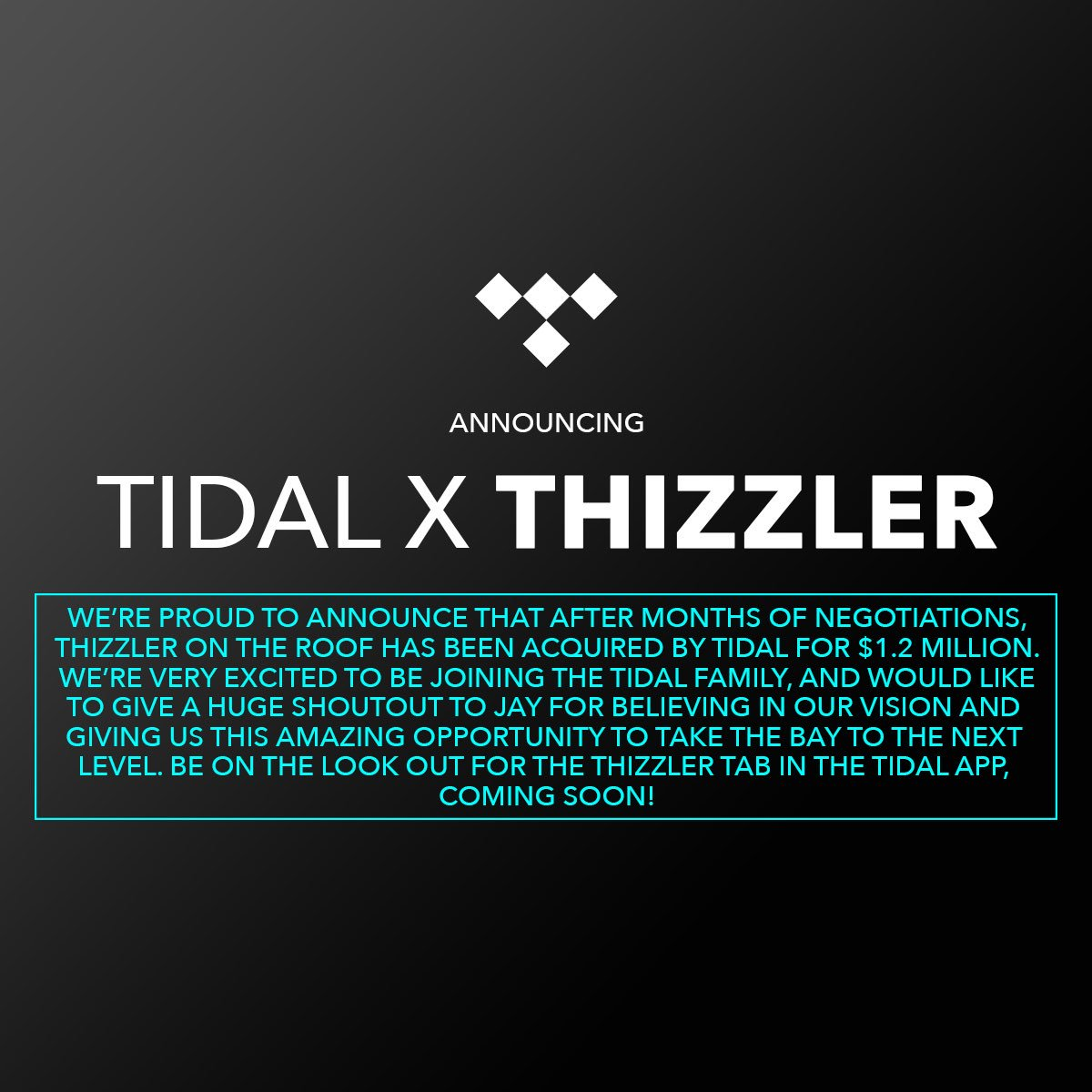 It's finally time to make this public. Excited to announce the next phase of Thizzler will be exclusively on TIDAL! https://t.co/xDNRCVy3QF