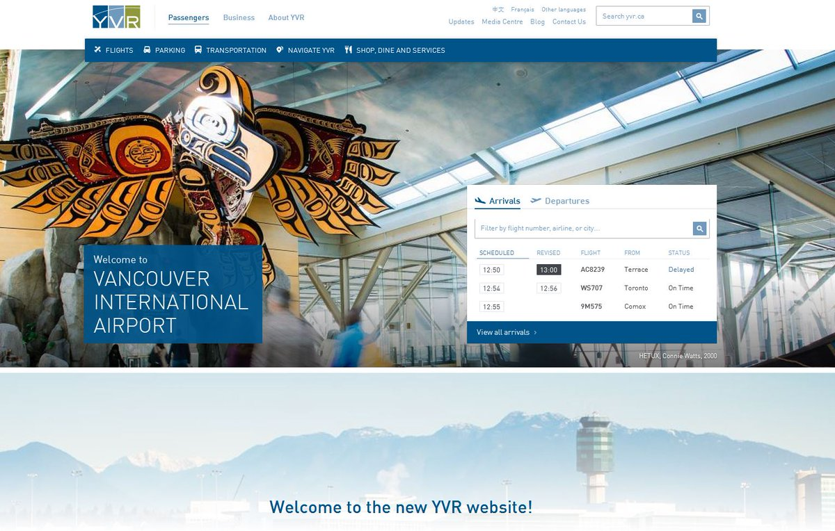 YVR launched a new, mobile-optimized website today in English, French & Chinese!