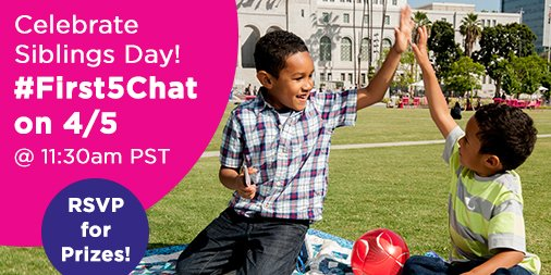 Ready for #prizes? JOIN US Tues 4/5 #First5Chat 11:30amPT & celebrate! RSVP: https://t.co/9vtU6Btizj @first5LA https://t.co/M9ZCDLQ6or