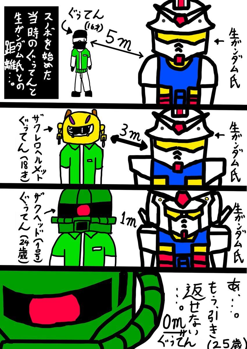 師匠生ガンダムさんとスノボを始めてからのぐぅてんとの距離マンガです(^_^;)本当にこんな感じでしたね(笑)