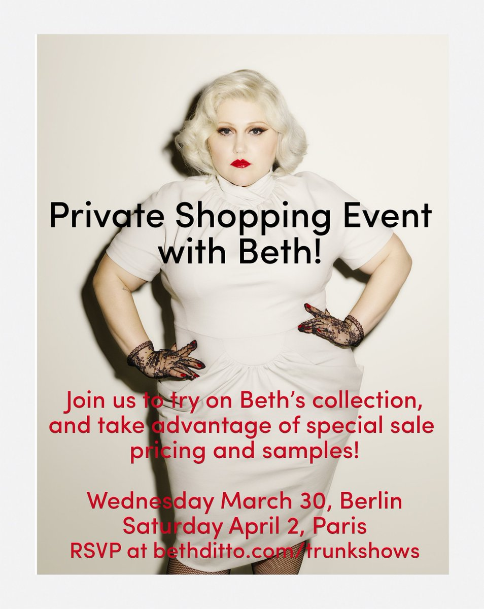 PARIS! Come get styled by Beth+ try on the #bethditto collection in person on Saturday!  https://t.co/PcrrjV75F5 https://t.co/40OUS5464D