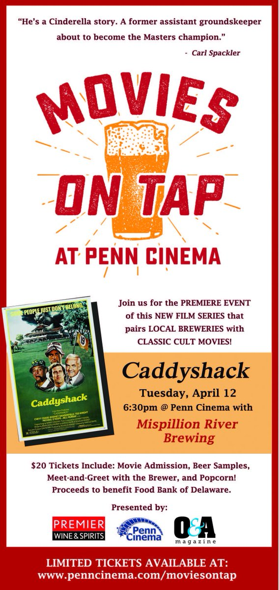 Movies on Tap at @PennCinema on 4/12! Enjoy Caddyshack and beer from @Mispillion! Presented by @Premierws #netde https://t.co/SgLIo5DqZs
