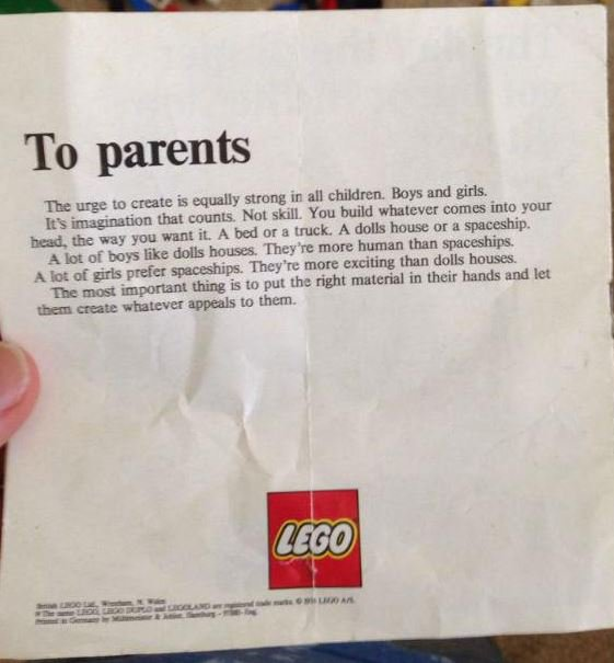 """In 1979, #Lego included this letter in one of their sets. """"The urge to create is equally strong in all children..."""" https://t.co/BAimrFArGx"""