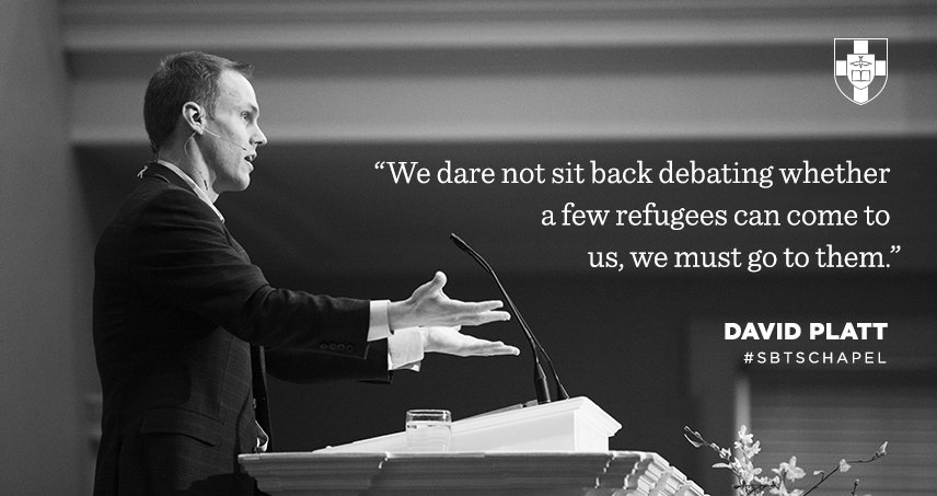"""We dare not sit back debating whether a few refugees can come to us, we must go to them."" — @plattdavid #SBTSchapel https://t.co/t9fjnXgKQ4"